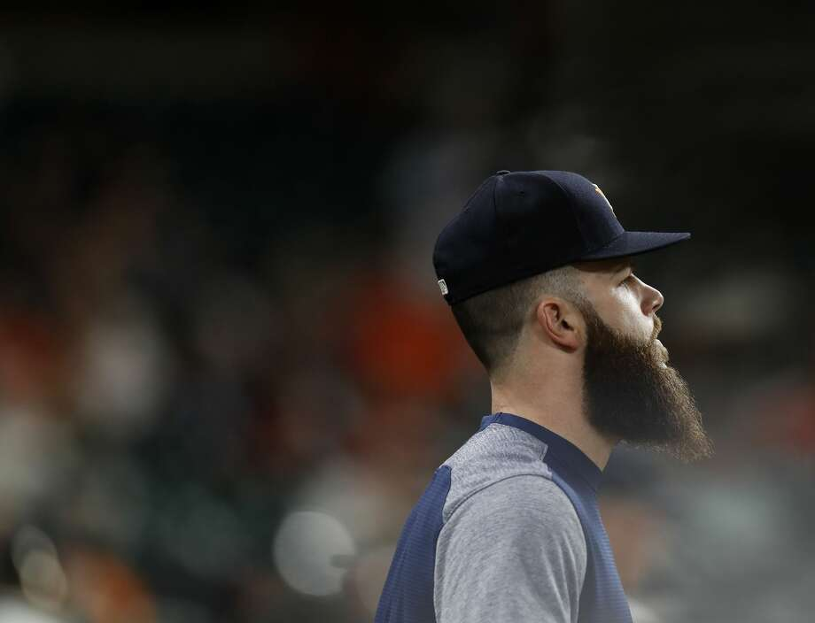 Houston Astros pitcher Dallas Keuchel (60)  in the dugout during the ninth inning of an MLB game at Minute Maid Park, Thursday, Aug. 3, 2017, in Houston. ( Karen Warren / Houston Chronicle ) Photo: Karen Warren/Houston Chronicle