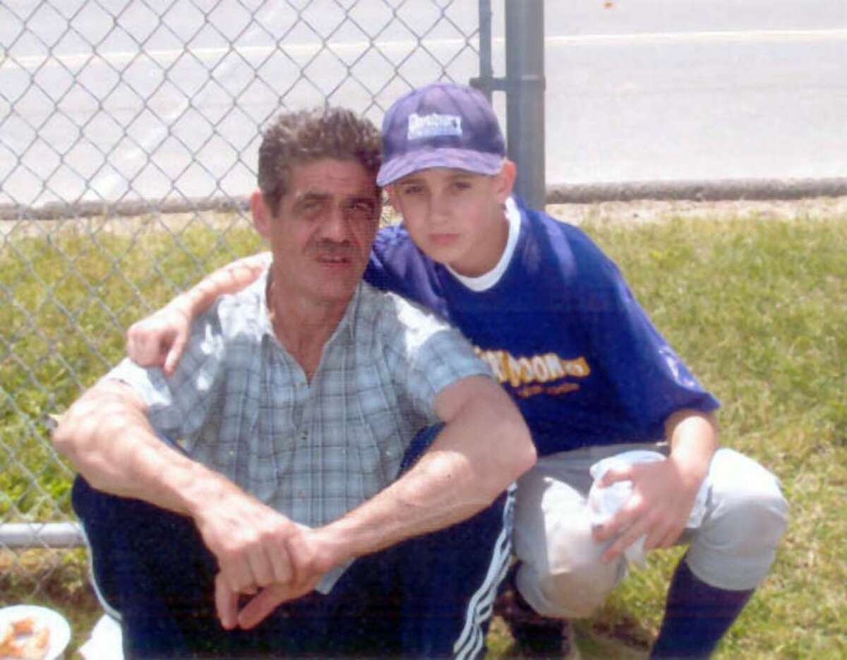 Mark Lamoureaux Jr., 14, of Danbury, with his father and best friend, the late Mark Lamoureux Sr.