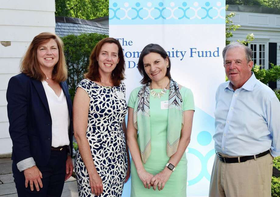 The Community Fund of Darien gave a grant of $22,000 Building One Community. From left: Community Fund Executive Director Carrier Bernier, Building One Community Executive Director Catalina Horak, Community Fund Grants Director Lisa Haas, and Steve Ward, Community Fund Board President. Photo: Contributed Photo