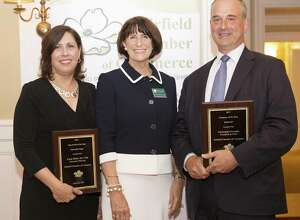 Fairfield Chamber of Commerce President Beverly Balaz, center, presents Operation Hope Executive Director Carla Miklos with the Chambers Nonprofit Organization of the Year award and Bankwell President and CEO Christopher Gruseke with the Company of the Year award.