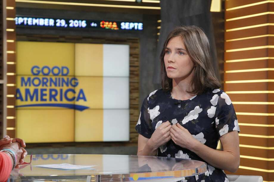 """Amanda Knox speaks during an interview on ABC's """"Good Morning America,"""" Thursday, September 29, 2016. Photo: Lou Rocco/ABC Via Getty Images"""