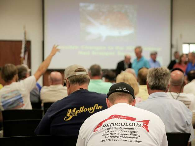 Recreational fishermen gather at a Texas Parks & Wildlife Public Scoping Meeting regarding the red snapper season on Monday, June 12, 2017. Photo: Elizabeth Conley, Houston Chronicle / © 2017 Houston Chronicle