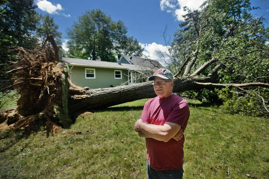 Ed Chase stands in his front yard on E. Price Road near Stark Road in Midland on Friday, August 4, 2017, in front of a large tree that fell after the area was struck by a downburst wind on Thursday evening around 7:30 p.m. (Katy Kildee/kkildee@mdn.net) Photo: (Katy Kildee/kkildee@mdn.net)