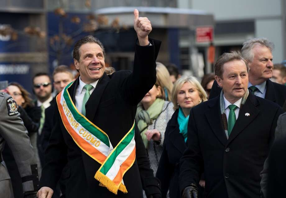 NEW YORK, NY - MARCH 16: (L to R) New York Governor Andrew Cuomo and Irish Prime Minister Enda Kenny march in the annual St. Patrick's Day parade on 5th Avenue, March 17, 2017 in New York City. The New York City St. Patrick's Day parade, dating back to 1762, is the world's largest St. Patrick's Day celebration. (Photo by Drew Angerer/Getty Images) ORG XMIT: 700021171