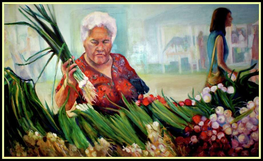 """Barbara Mathis' """"Fresh Scallions,"""" an oil on board, is among the artwork on display in the Loft Artists Association's exhibition """"Food for Thought"""" through Aug. 27. Photo: Contributed Photo / Contributed Photo / Stamford Advocate Contributed"""