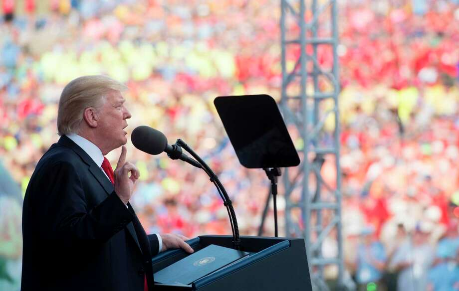 US President Donald Trump speaks during the National Boy Scout Jamboree at Summit Bechtel National Scout Reserve in Glen Jean, West Virginia, July 24, 2017. / AFP PHOTO / SAUL LOEBSAUL LOEB/AFP/Getty Images ORG XMIT: US Presid Photo: SAUL LOEB / AFP or licensors