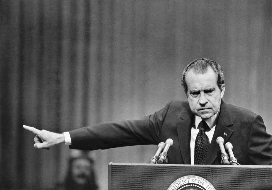 President Richard Nixon speaks at a rally at the Nassau Coliseum in Uniondale, N.Y., Oct. 23, 1972. President Donald Trumps firing of FBI Director James Comey on May 9, 2017, drew instant comparisons to the Saturday Night Massacre, in which Nixon fired the special prosecutor looking into Watergate. Photo: MICHAEL EVANS /NYT / NYTNS