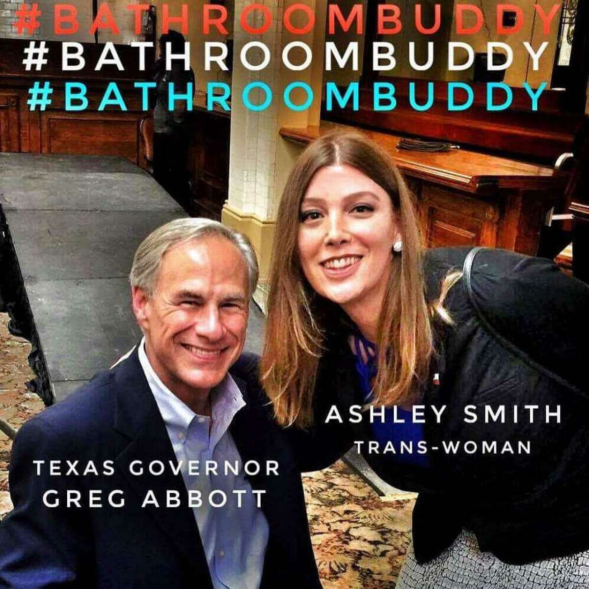 This photo of transgender activist Ashley Smith with Abbott went viral. Such activists have argued that their gender identification trumps their gender of birth, but some say that should not be so.