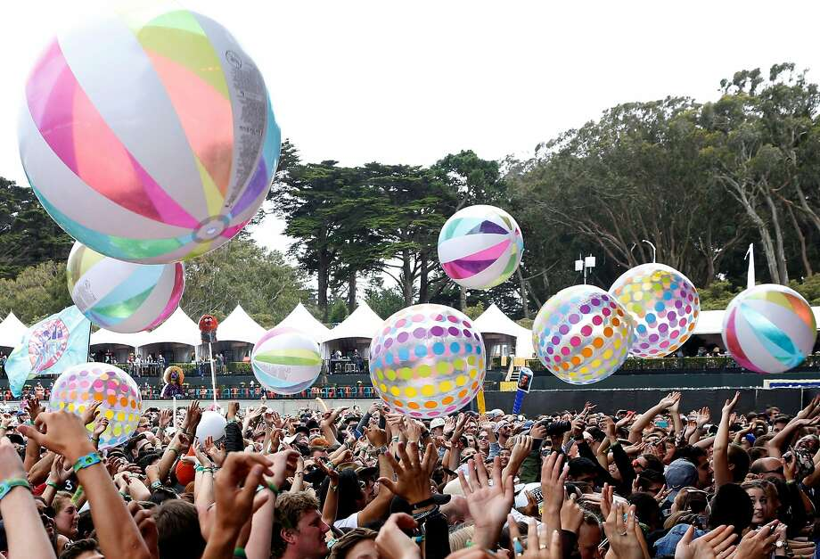 Fans hit beach balls into the air while Dr. Teeth and the Electric Mayhem perform at Outside Lands last year. Photo: Connor Radnovich, The Chronicle