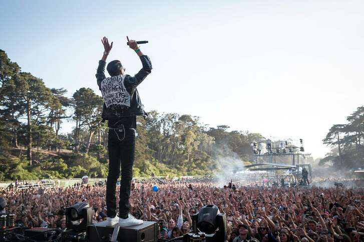 Bay Area rapper G-Eazy performs at Twin Peaks Stage for a packed audience at Outside Lands Music Festival on Saturday, Aug. 8, 2015.