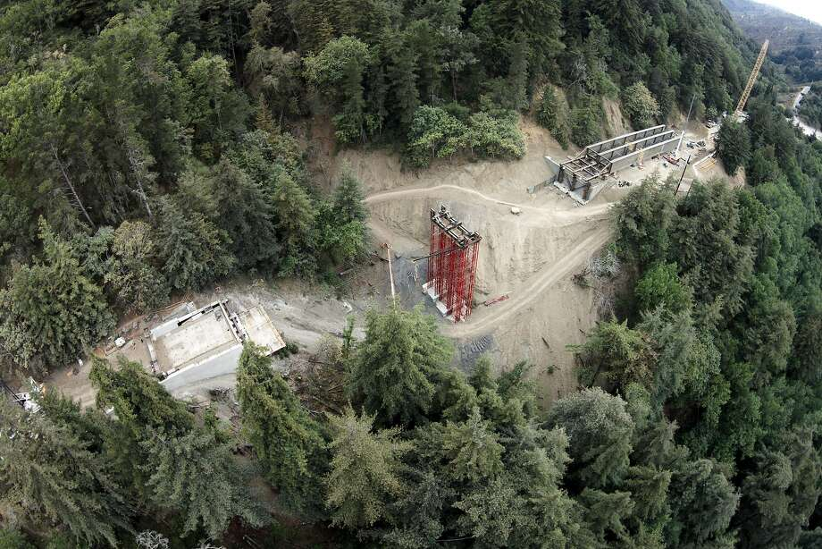 Engineers continue to work on the new Pfeiffer Canyon Bridge on Thursday, Aug. 3, 2017, in Big Sur, Calif. The former bridge was damaged by weather. Photo: Santiago Mejia, The Chronicle