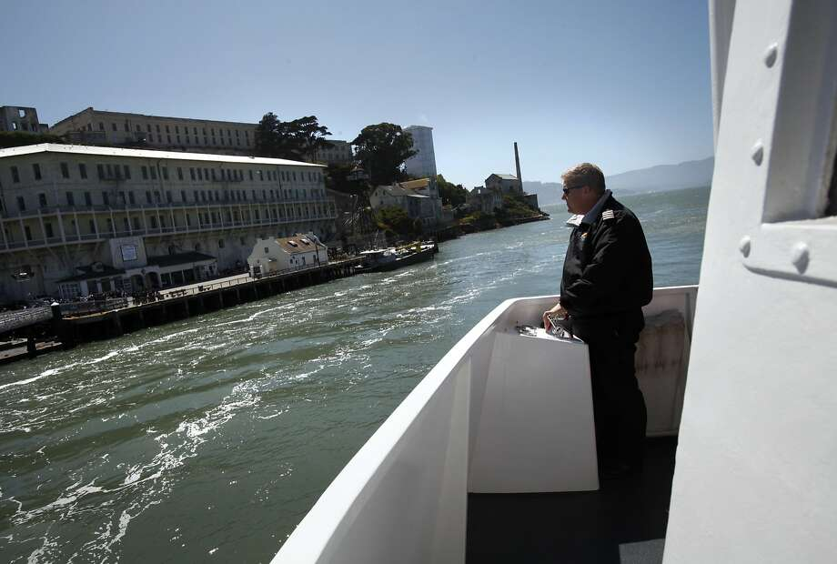 Captain Erik Anfinson docks the Alcatraz Flyer at Alcatraz Island in San Francisco, Calif., Monday, July 2, 2012. On Thursday, Anfinson and his crew answered a distress call on San Francisco Bay and rescued 10 people from a sinking boat. Photo: Sarah Rice, Special To The Chronicle