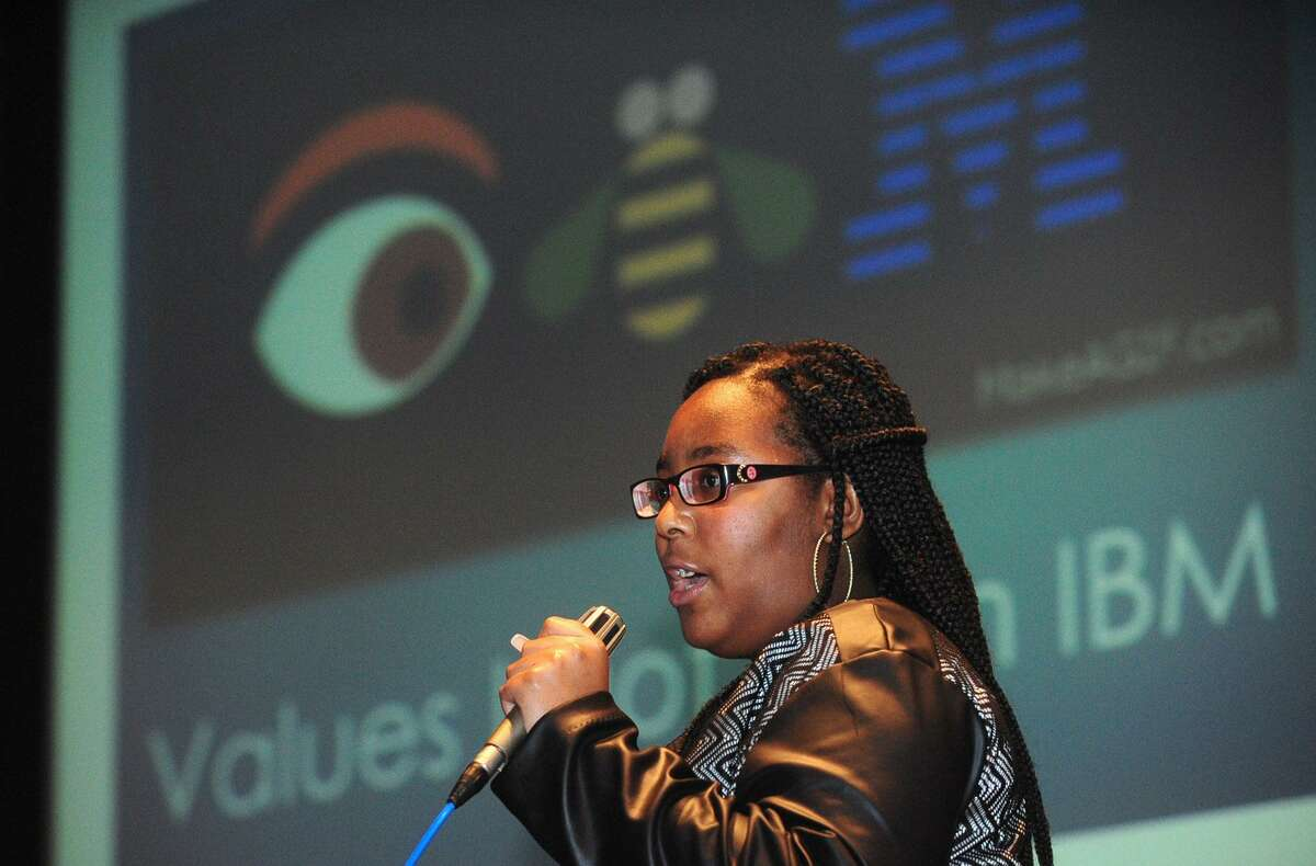 Norwalk Early College Academy (NECA) scholars who are working in paid internships at IBM including Tantia Bynum give their presentations during the IBM Internship Expo Friday, August 4, 2017, at The Norwalk Community College in Norwalk, Conn. NECA is Connecticut's first Pathways to Technology (P-TECH) institution for students in grades 9-14. The academy was jointly founded in August 2014 by IBM, Norwalk Community College, and Norwalk High School.