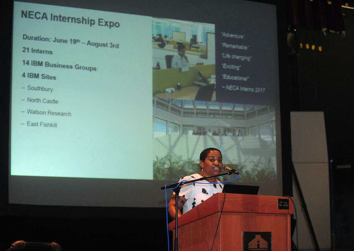Norwalk Early College Academy (NECA) director Karen Amaker welcomes NECA scholars who are working in paid internships at IBM during the IBM Internship Expo Friday, August 4, 2017, at The Norwalk Community College in Norwalk, Conn. NECA is Connecticut's first Pathways to Technology (P-TECH) institution for students in grades 9-14. The academy was jointly founded in August 2014 by IBM, Norwalk Community College, and Norwalk High School.