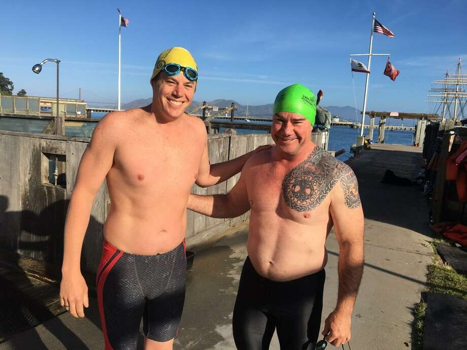 Ryan Nelson of the South End Rowing Club, S.F., left, and former Navy SEAL Rory O'Connor of Florida are helping organize the Golden Gate Frogman swim event in San Francisco for Sunday, Aug. 6, 2017. Photo: Photo Courtesy Of Rory O'Connor / Photo Courtesy Of Rory O'Connor /