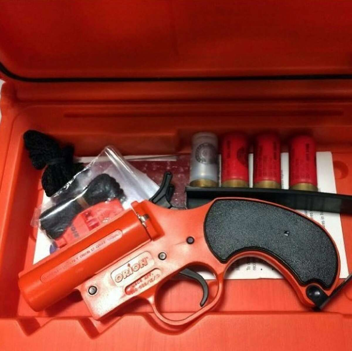 """TSA posted a series of photos of things people tried to bring on airplanes. For your entertainment and education, here's what you CANNOT take on airplanes... TSA: """"We need to talk about your flare. If you want to express yourself, this is the wrong kind of flare. You need flair. 37 pieces to be exact... This flare gun was discovered in a carry-on bag at Honolulu (HNL). Flare guns are only permitted in checked bags without the flares."""""""