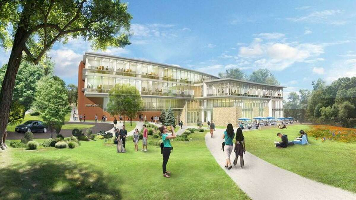 Rendering of the new Dolan School of Business on the horizon at Fairfield University. Scheduled completion is Fall of 2019.