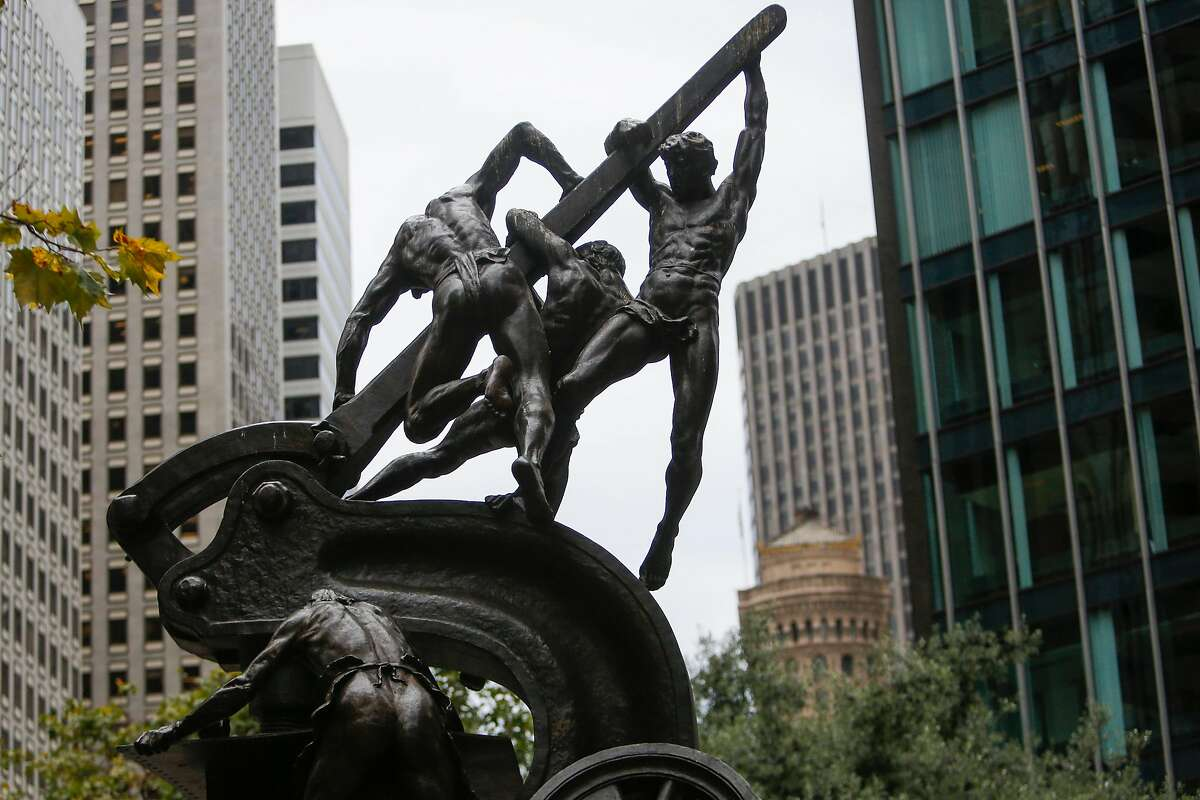 The Mechanics Monument by Douglas Tilden in Mechanics Monument Plaza in San Francisco on Friday, August 4, 2017.