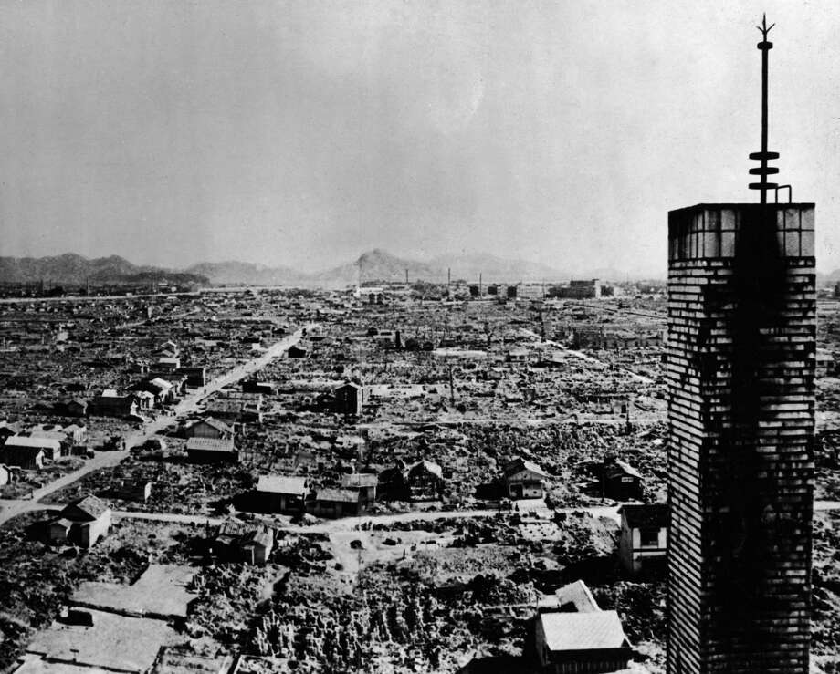 High-angle view of a section of the city of Hiroshima after the US atomic bombing on August 6, 1945. (Photo by Keystone/Getty Images) Photo: Keystone/Getty Images
