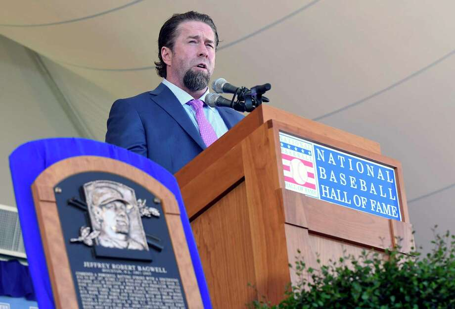 Jeff Bagwell speaks during the National Baseball Hall of Fame induction ceremony in Cooperstown, N.Y. (AP Photo/Hans Pennink) Photo: Hans Pennink, FRE / FR58980 AP