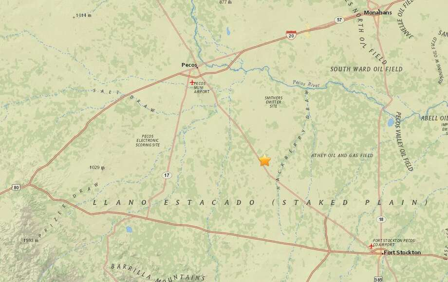 The 2.8 magnitude earthquake took place 35 kilometers southeast of Pecos around 12:05 p.m. Friday, according to the USGS. Photo: Usgs.gov/