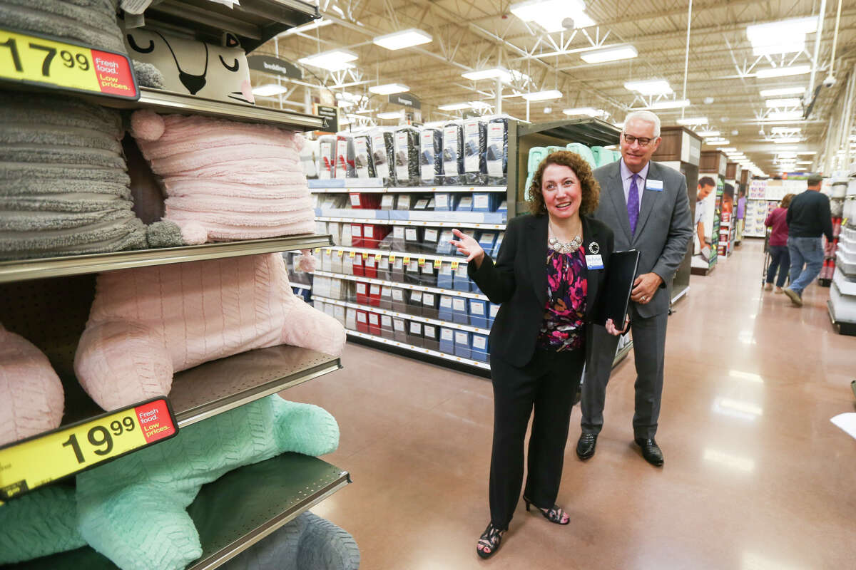 Kroger Corporate Affairs Manager Joy Partain, left, and Kroger Senior Project Manager Norbert Mueller, right, lead a media tour during the grand opening of the Kroger Marketplace in Montgomery on Friday, Aug. 4, 2017.