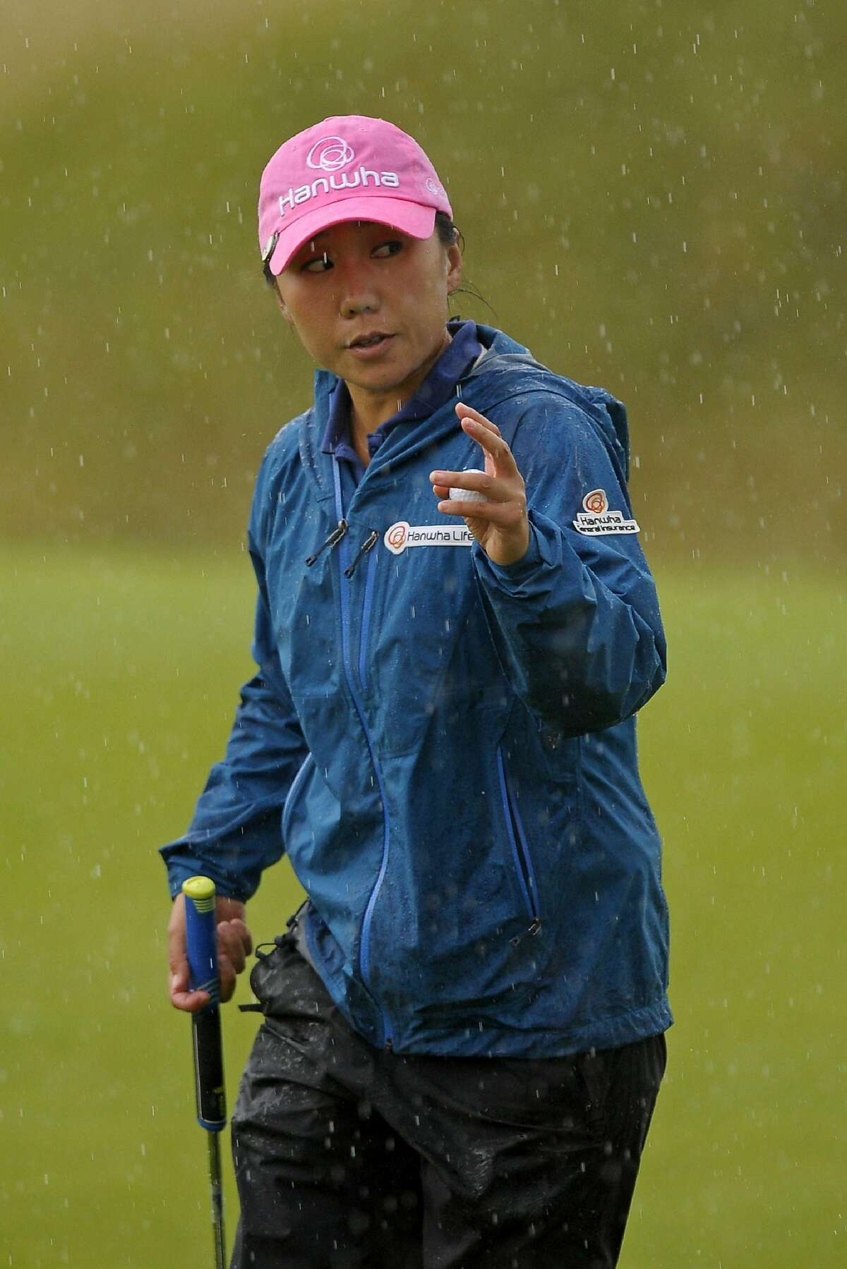 Korea's In-Kyung Kim reacts after finishing her second round on day 2 of the 2017 Women's British Open Golf Championship at Kingsbarns Golf Links near St. Andrews, east Scotland, on August 4, 2017. / AFP PHOTO / Andy BUCHANANANDY BUCHANAN/AFP/Getty Images