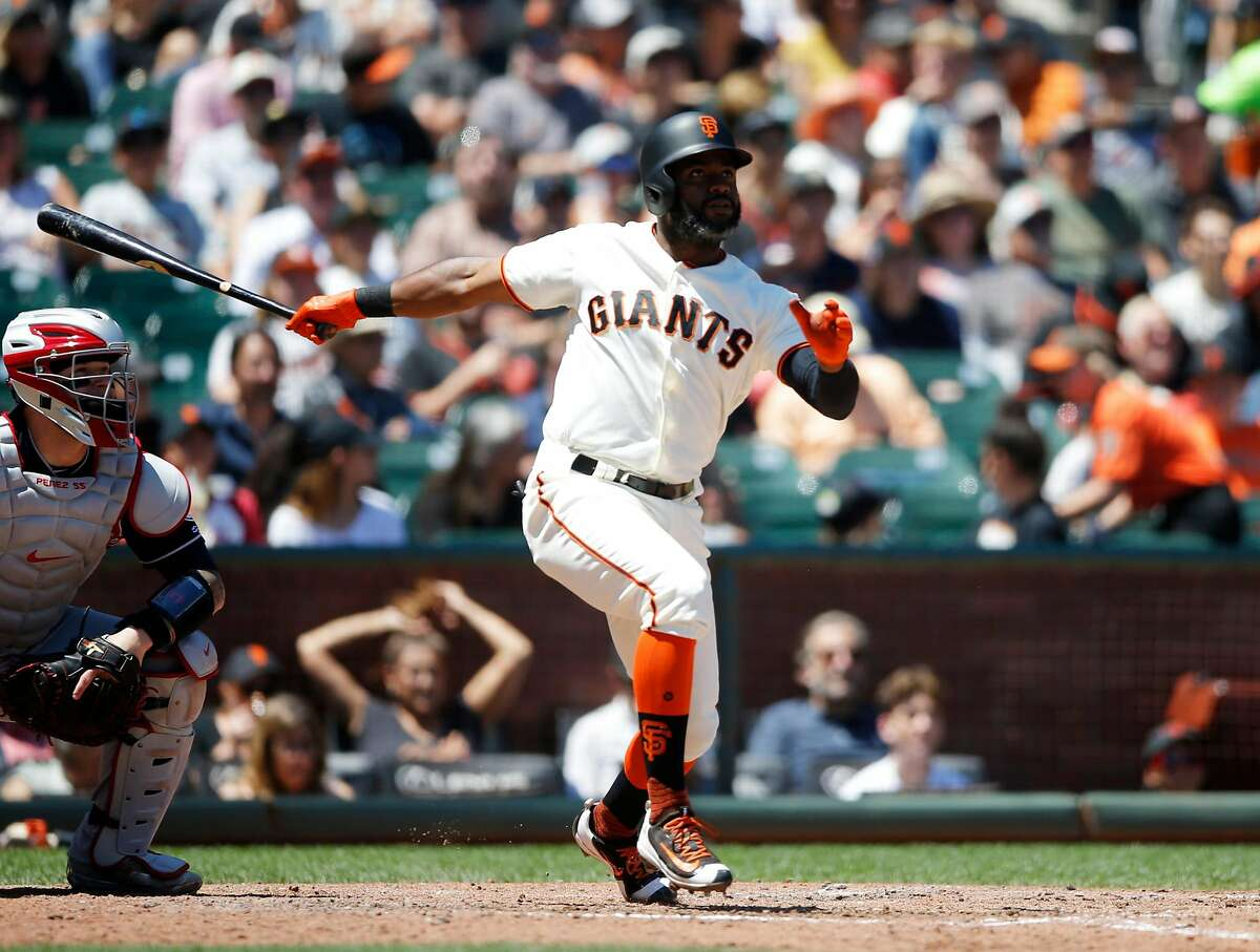 The San Francisco Giants' Denard Span watches the flight of his solo home run against the Cleveland Indians in the fifth inning at AT&T Park in San Francisco on Wednesday, July 19, 2017. The Giants won, 5-4. (Josie Lepe/Bay Area News Group/TNS)