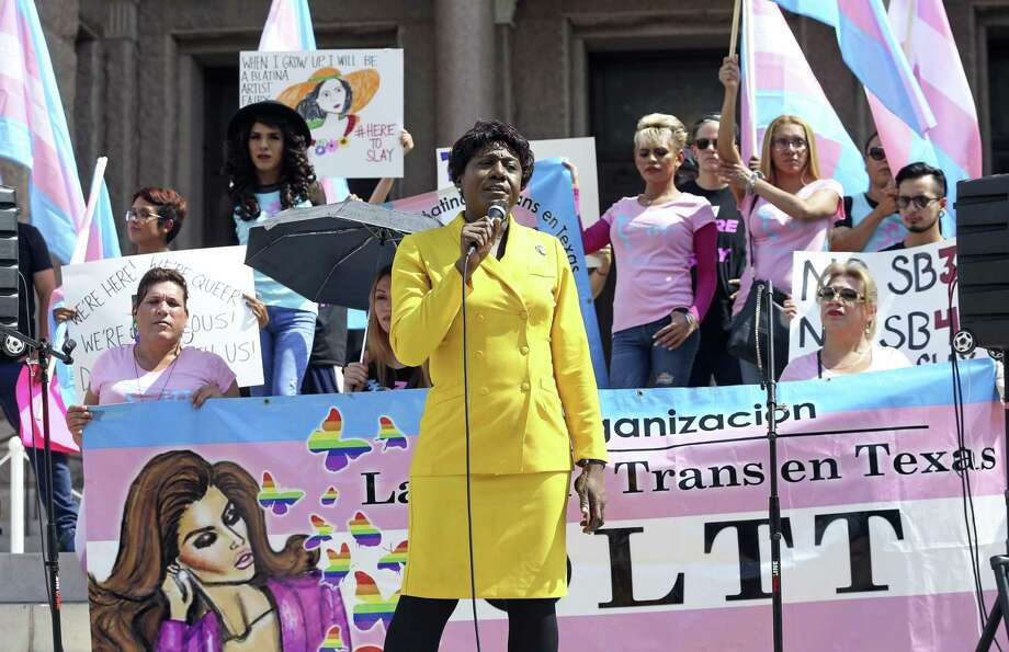 Monica Roberts, from Houston, is the first speaker at a rally in protest of SB3 and SB4 taking place on the steps of the Capitol in Austin on August 4, 2017. Photo: Tom Reel, Staff / San Antonio Express-News / 2017 SAN ANTONIO EXPRESS-NEWS