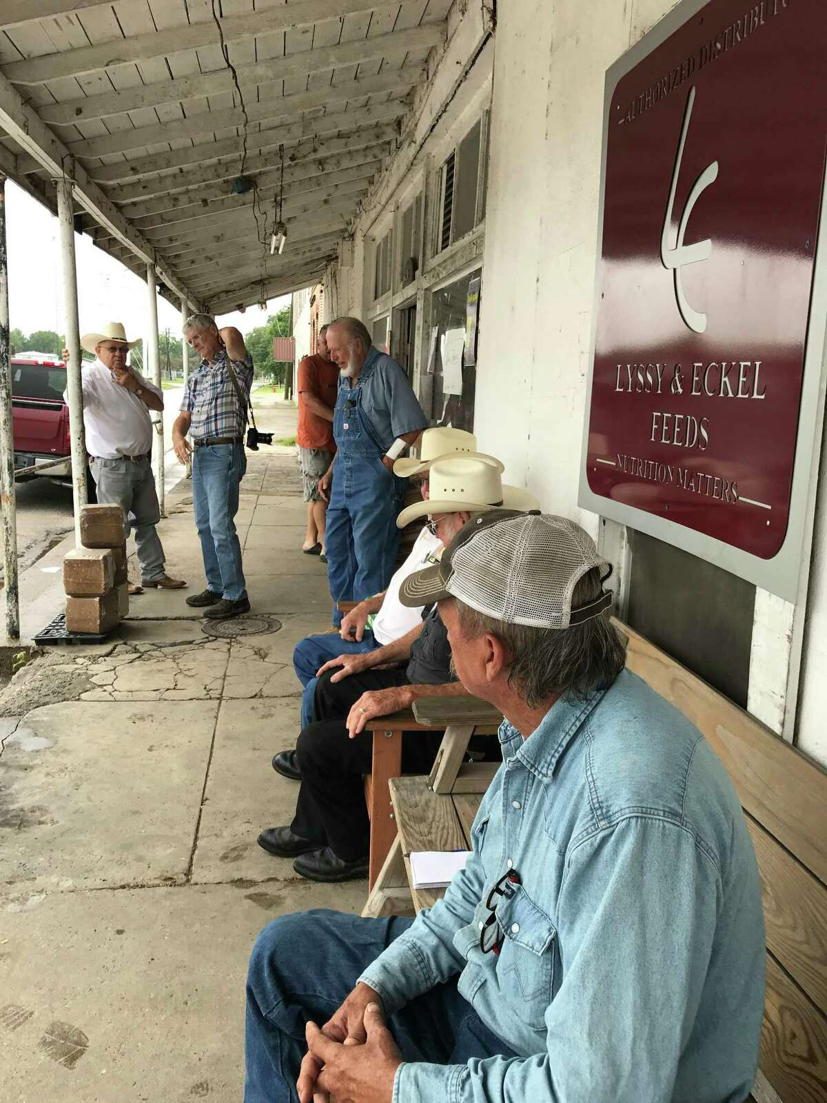 The loading dock at Stubbs Chemical and Feed in Trinity is a community gathering place.