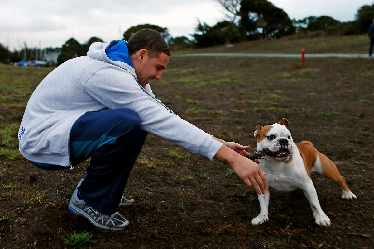Golden State Warriors' Klay Thompson plays with his dog, Rocco, at Cesar Chavez Park in Berkeley, Calif., on Wednesday, November 19, 2014.