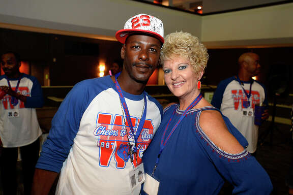 Vincent Sublett and Bryanne Tyler during a reunion for West Brook's class of 1987 on Friday evening.   Photo taken Friday 8/4/17 Ryan Pelham/The Enterprise