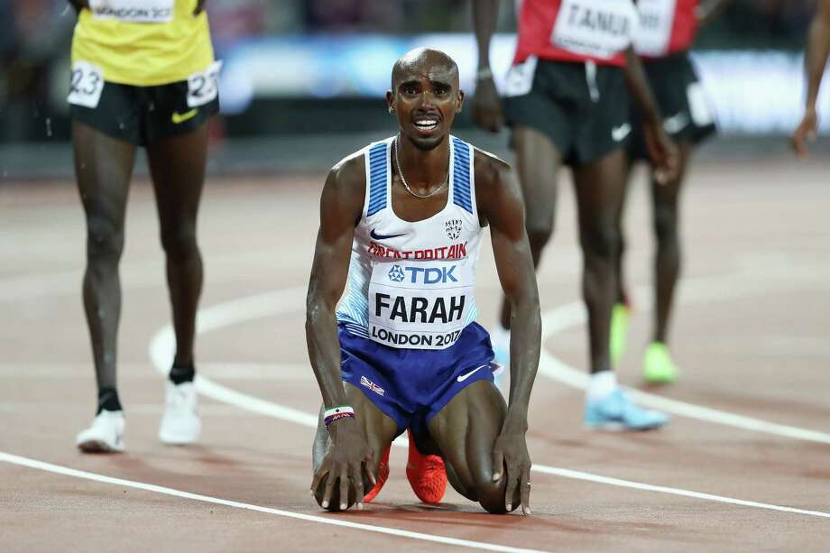 LONDON, ENGLAND - AUGUST 04:  Mo Farah of Great Britain celebrates winning gold in the Men's 10000 metres final during day one of the 16th IAAF World Athletics Championships London 2017 at The London Stadium on August 4, 2017 in London, United Kingdom.  (Photo by Alexander Hassenstein/Getty Images for IAAF) ORG XMIT: 700043864 Photo: Alexander Hassenstein / 2017 Getty Images