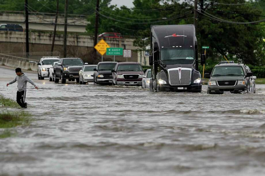 More than 240 billion gallons of water rained across Harris County during the Tax Day floods in April 2016, including along Aldine Bender Road.  Photo: Michael Ciaglo, Staff / © 2016  Houston Chronicle