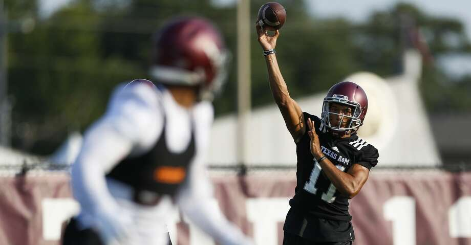 Texas A&M quarterback Kellen Mond throws a pass during the first day of football practice at the Coolidge Grass Practice Fields Friday, Aug. 4, 2017 in College Station. ( Michael Ciaglo / Houston Chronicle ) Photo: Michael Ciaglo/Houston Chronicle