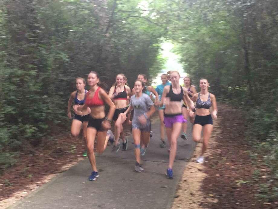 Members of the Kingwood girls cross country team take part in a preseason practice run Photo: Jeremy Dye