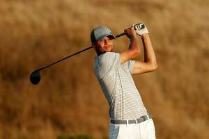 Stephen Curry drives on the 17th hole during the second round of the Ellie Mae Classic golf tournament at TPC Stonebrae in Hayward, Ca., on Fri. August 4, 2017. Curry finished the day at 8 over par for the tournament.