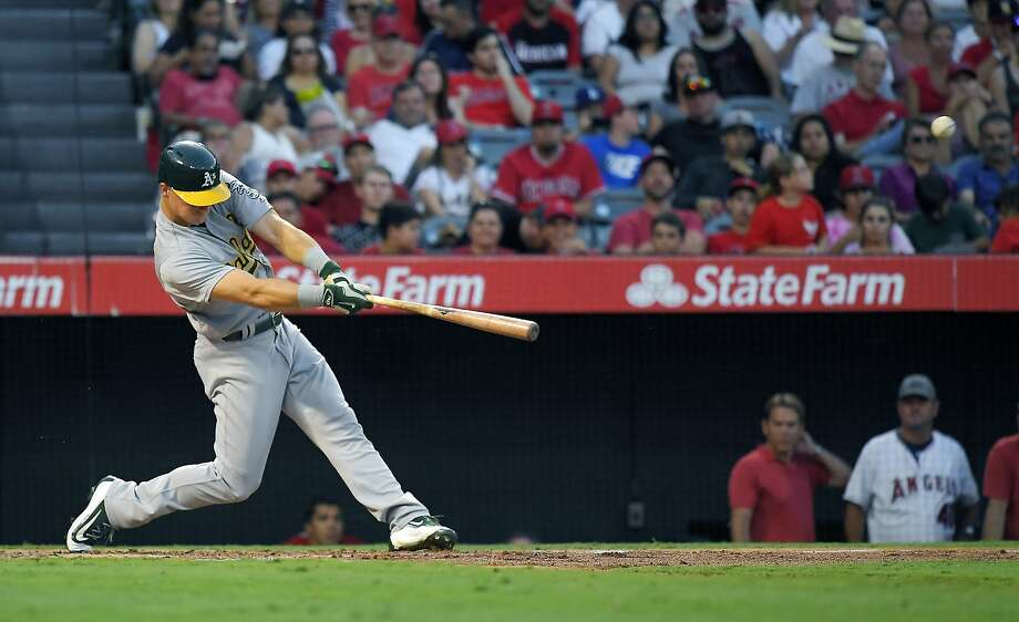 Oakland Athletics' Matt Chapman hits a three-run home run during the second inning of the team's baseball game against the Los Angeles Angels, Friday, Aug. 4, 2017, in Anaheim, Calif. (AP Photo/Mark J. Terrill) Photo: Mark J. Terrill, Associated Press
