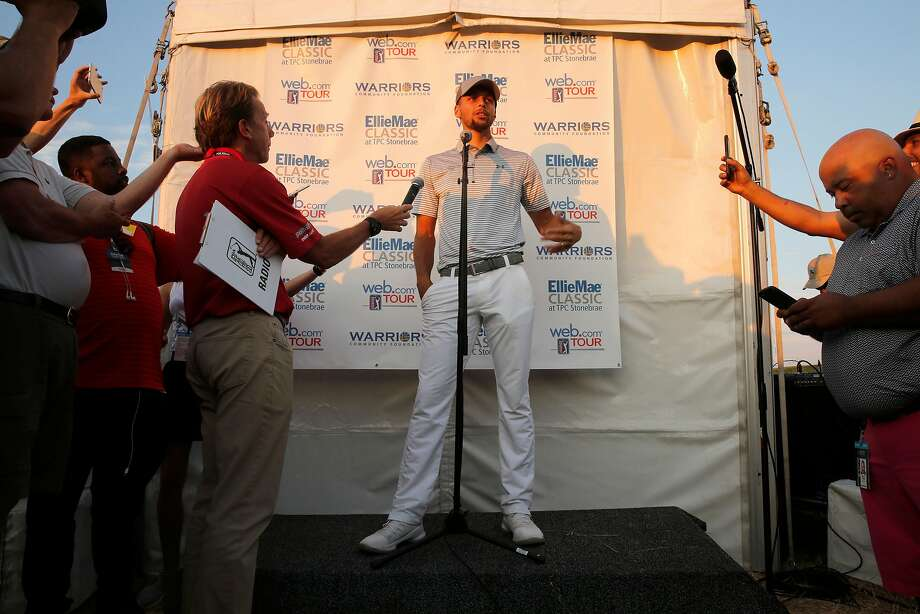 Stephen Curry talks with the media after his second round of the Ellie Mae Classic golf tournament at TPC Stonebrae in Hayward, Ca., on Fri. August 4, 2017. Curry finished the day at 8 over par for the tournament. Photo: Michael Macor, The Chronicle