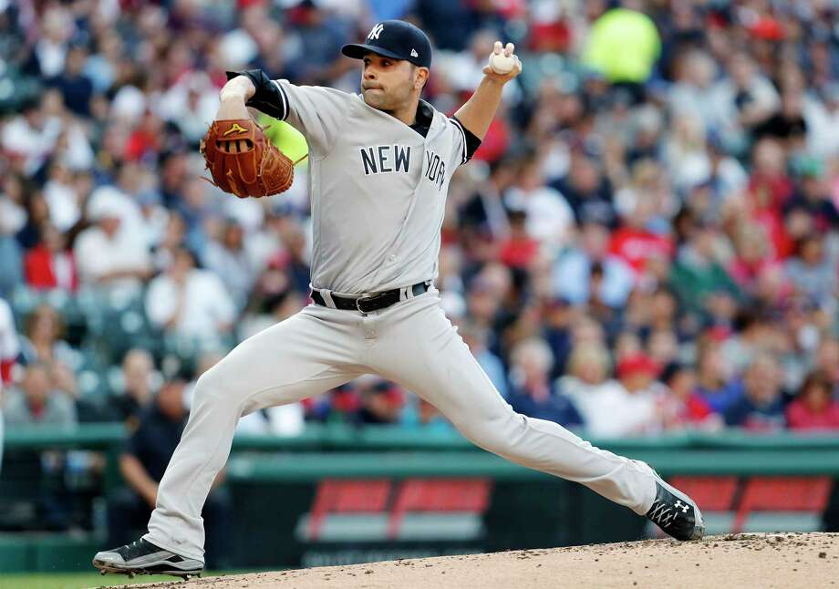 CLEVELAND, OH - AUGUST 04:  Jaime Garcia #34 of the New York Yankees pitches against the Cleveland Indiansin the first inning  at Progressive Field on August 4, 2017 in Cleveland,  Ohio.  (Photo by David Maxwell/Getty Images) ORG XMIT: 700011889 Photo: David Maxwell / 2017 Getty Images