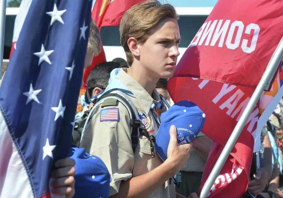 Stamford Boy Scout Owen Pollard during a moment of silence in Bridgeport as they headed to National Scout Jamboree in West Virginia last month. Photo: Alex Von Kleydorff / Hearst Connecticut Media / Norwalk Hour