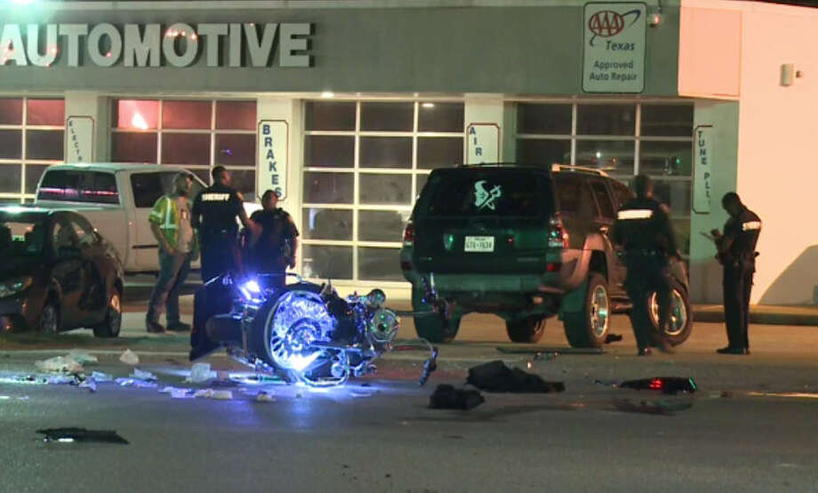 A motorcyclist died Friday evening after crashing into an SUV in northwest Harris County, according to the Harris County Sheriff's Office. Photo: Metro Video