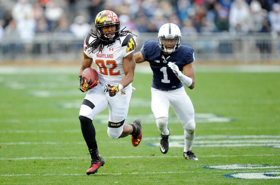 STATE COLLEGE, PA - NOVEMBER 01:  Marcus Leak #82 of the Maryland Terrapins runs with the ball after making a catch against the Penn State Nittany Lions at Beaver Stadium on November 1, 2014 in State College, Pennsylvania.  (Photo by G Fiume/Maryland Terrapins/Getty Images) Photo: G Fiume/Getty Images