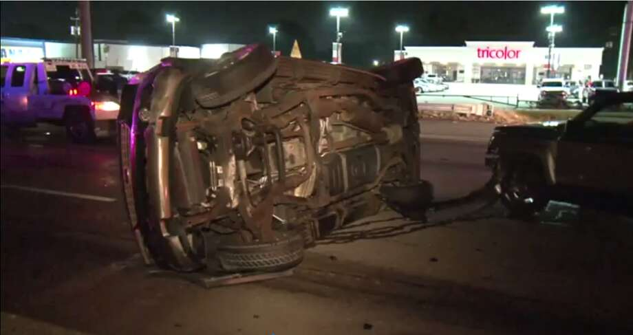 A driver slammed into a Houston fire truck that was on scene of a three car crash Saturday morning, causing the North Freeway to be shut down for a few hours, officials said. Photo: Metro Video
