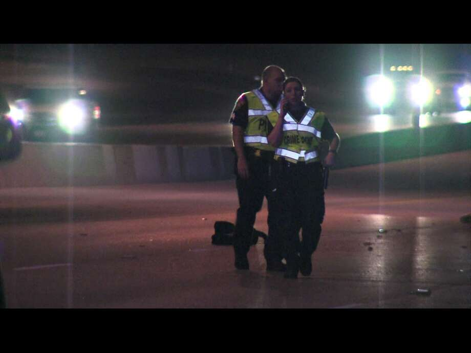 A man was killed Friday night Aug. 4, 2017, after attempting to cross Interstate 37 on foot. Photo: Pro 21 Video