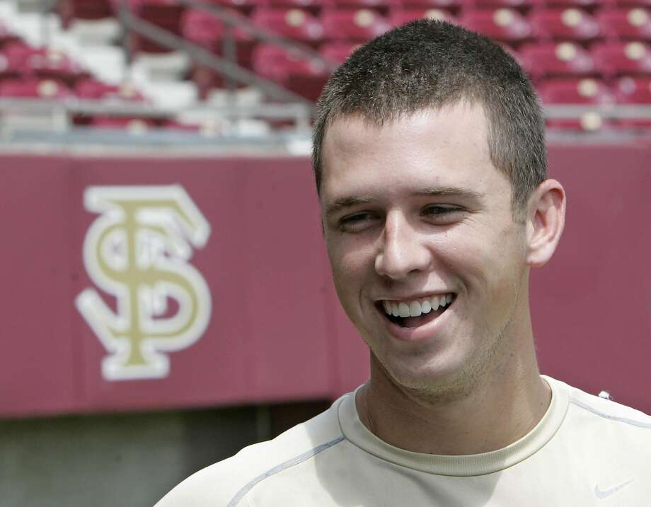 Florida State baseball player Buster Posey talks to the media as he and his teammates prepare for their trip to the College World Series baseball tournament, Wednesday, June 11, 2008, in Tallahassee, Fla. (AP Photo/Phil Coale) Photo: Phil Coale, AP