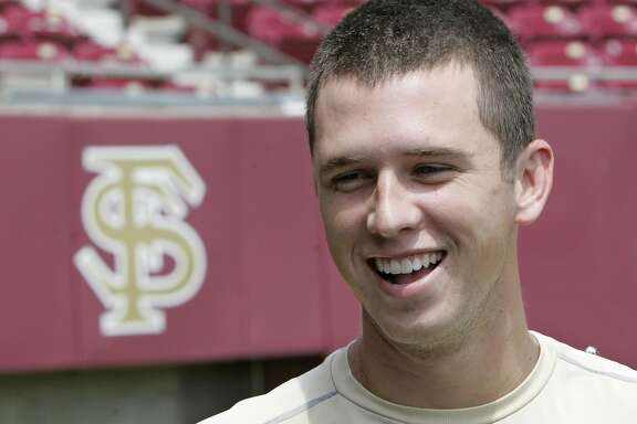 Florida State baseball player Buster Posey talks to the media as he and his teammates prepare for their trip to the College World Series baseball tournament, Wednesday, June 11, 2008, in Tallahassee, Fla. (AP Photo/Phil Coale)