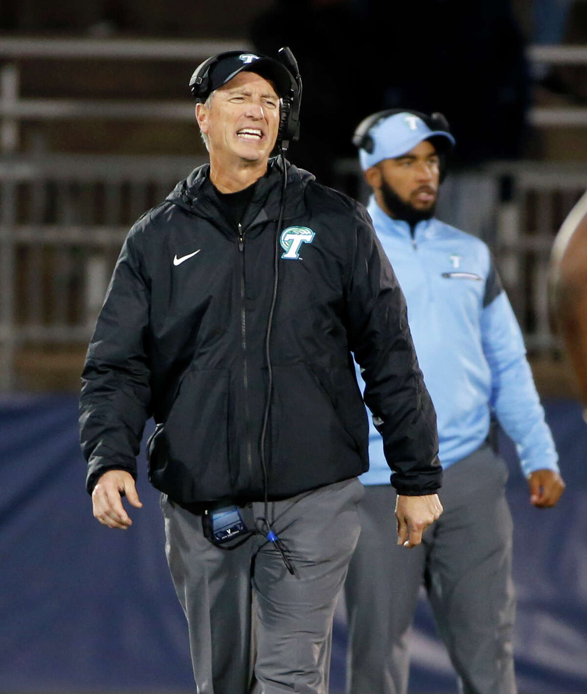 FILE - In this Nov. 26, 2016, file photo, Tulane head coach Willie Fritz reacts to a call during the second half of an NCAA college football game against Connecticut, in East Hartford, Conn. Fritz was head coach at Georgia Southern when the Eagles took a 20-10 lead in the fourth quarter of their 2014 opener against North Carolina State. The Wolfpack rallied to win 24-23 after Fritz made a fourth-down decision _ a gut call he is still kicking himself about. Fritz is no longer interested in following his gut.