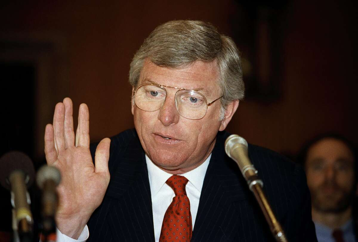 FILE - In this June 19, 1985 file photo, Texas Gov. Mark White gestures while speaking before the environment and public works in Washington. Former Texas Gov. Mark White, a Democrat who championed public education reforms, including the landmark