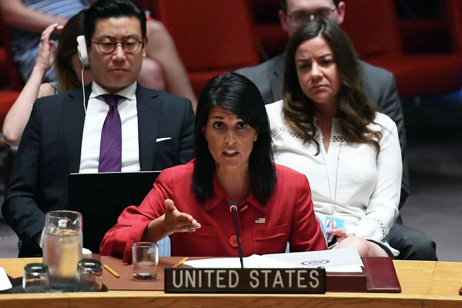 "(FILES) This file photo taken on July 5, 2017 shows US Ambassador to the United Nations Nikki Haley speaks during a Security Council meeting on North Korea at the UN headquarters in New York.  The time for talk on North Korea is ""over"", the United States said, spurning a UN response to Pyongyang's latest ICBM launch in favour of bomber flights and missile defence system tests. Nikki Haley, the US envoy to the United Nations, said there was ""no point"" in holding a fruitless emergency Security Council session, warning that another weak council resolution would be ""worse than nothing"" in light of the North's repeated violations.North Korean leader Kim Jong-Un boasted of his country's ability to strike any target in the US after an intercontinental ballistic missile test July 28, 2017 which weapons experts said could even bring New York into range -- a major challenge to President Donald Trump.  / AFP PHOTO / Jewel SAMADJEWEL SAMAD/AFP/Getty Images Photo: JEWEL SAMAD, Contributor / AFP or licensors"